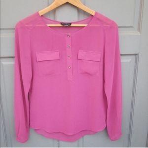 Bebe Pink Sheer Long Sleeve Blouse